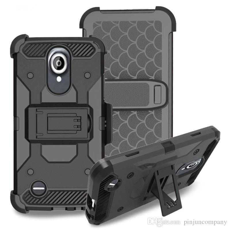 For LG Aristo 2 Metropcs For LG Tribute Dynasty boost Hybrid Armor phone  Case Shockproof cover Belt clip