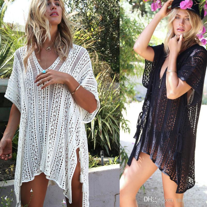 dad3b0a5c43b Women White Summer Sexy Lace Hollow Knit Bikini Swimwear Cover Up Crochet  Beach Mini Dress Tops Blouse Bathing Suit See Through Beach Dress Prom  Dresses On ...