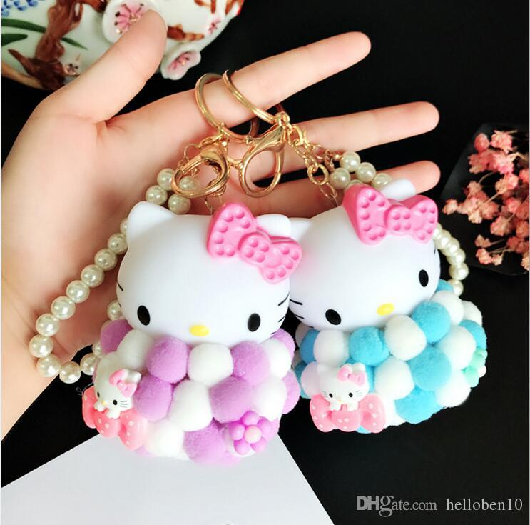 f0088c948 Lovable Hello Kitty Plush Keychain Keyring Car For Women Charm Bag Key  Chians Pendant Car Interior Accessories Keychain Lanyard Name Keychains  From ...