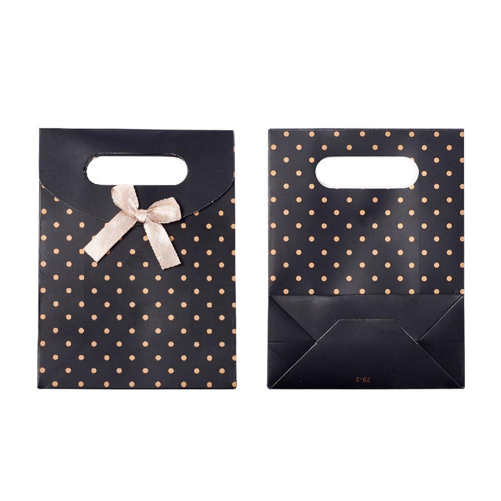 16.5x12.5x5.6 cm Polka Dot Preto Vermelho Bolsa de Papel Presente Sacos De Papelão Malotes Por Atacado Preço de Desconto QUENTE