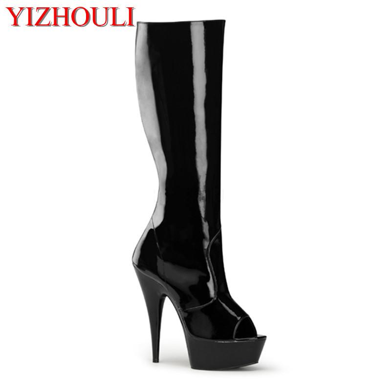 Classics Black   White 6 Inch High Heels Knee Boots Platform Women Open Toe  Boots Spring And Autumn Cool Ankle Boots Cowboy Boots From Slimwindy