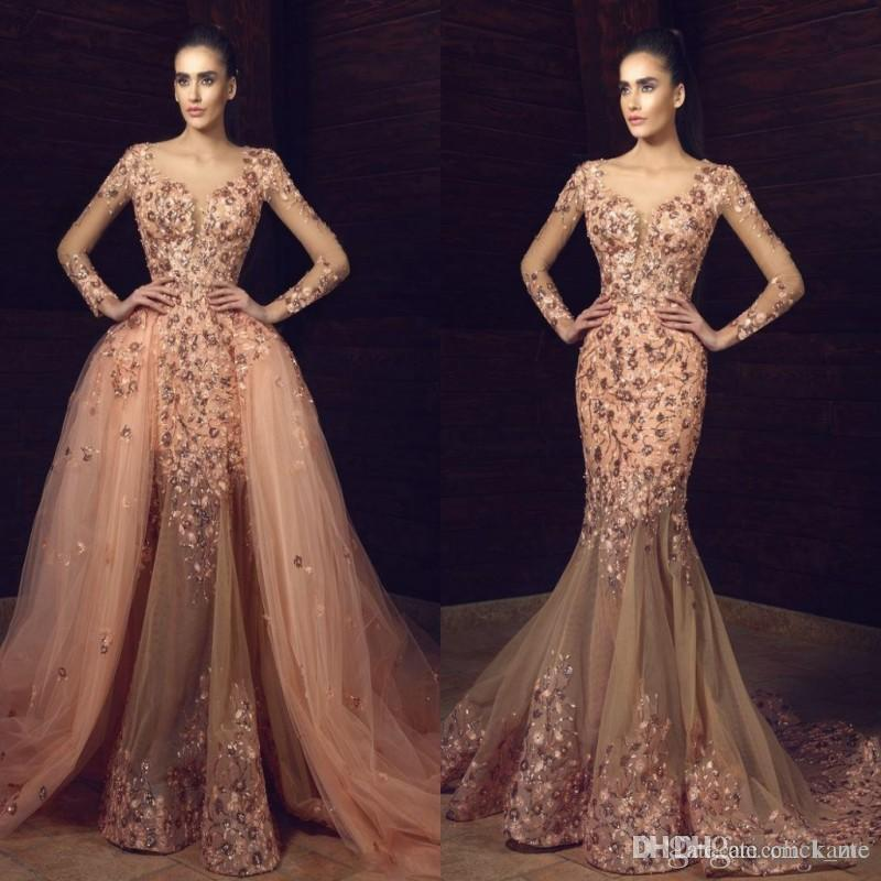 Elegant Overskirts Prom Dresses Scoop See Through Illusion Long ...