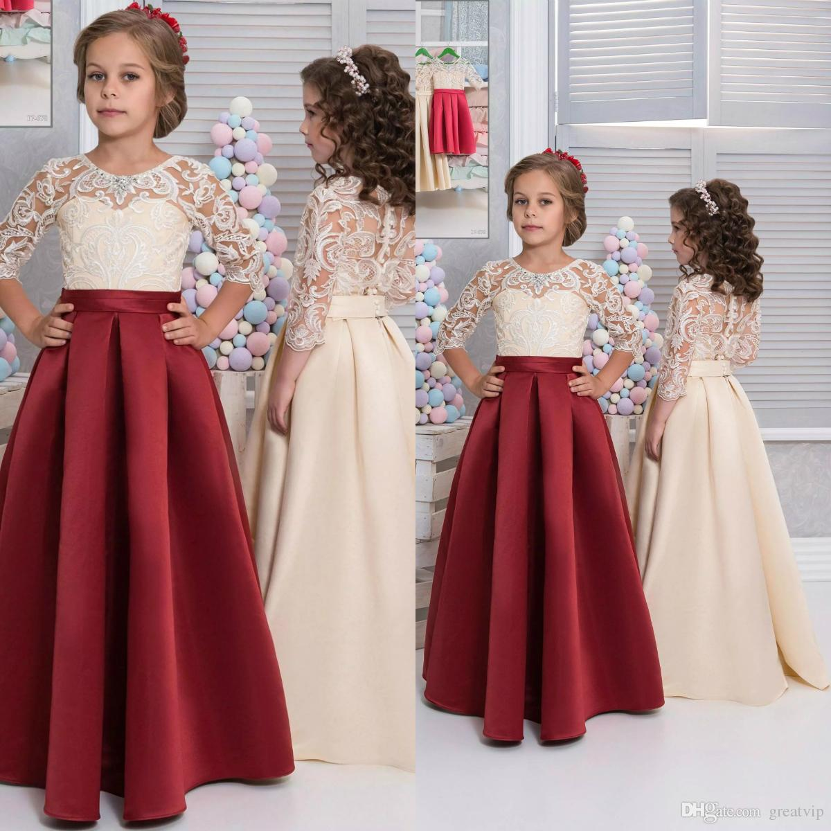 2019 Cheap Flower Girl Dresses A Line Lace Beads Half Sleeve Satin ...