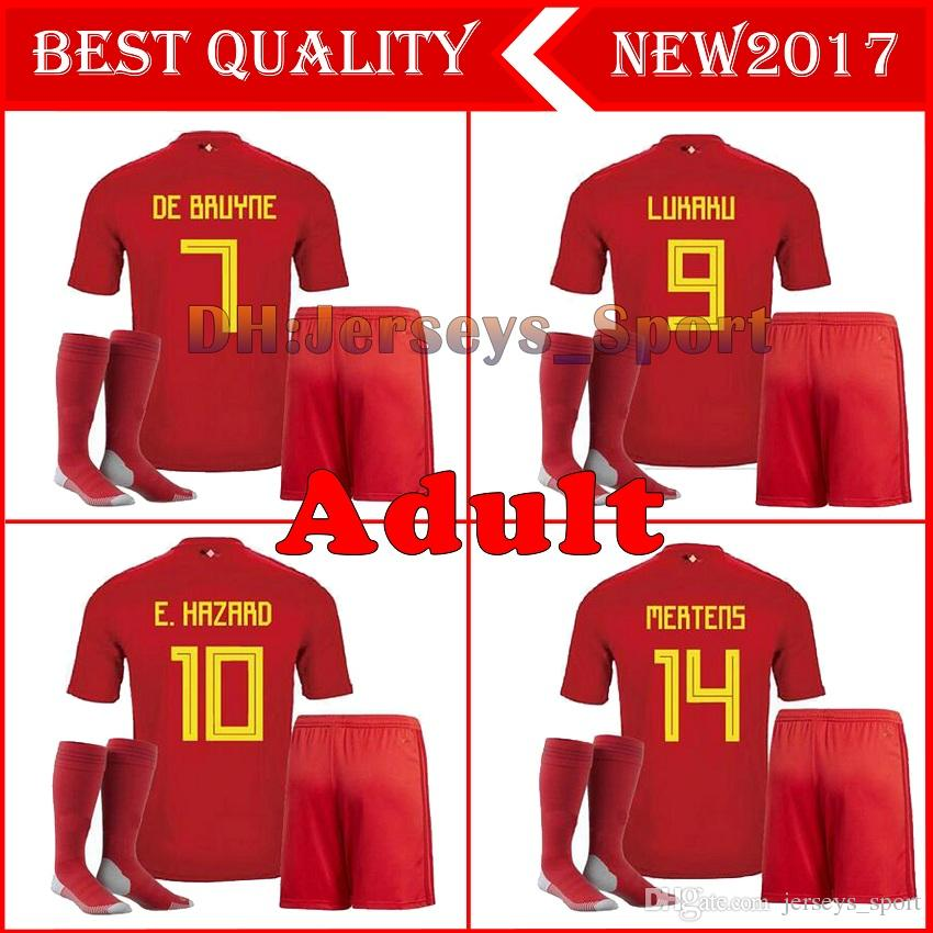 2018 World Cup Belgium ADULT Home red Soccer Jersey +SOCKS LUKAKU FELLAINI E.HAZARD DE BRUYNE Adult suits 18 Belgium football FULL kits