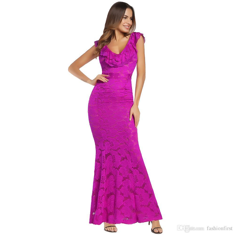 Ruffle Neckline Lace Maxi Dress Original Design American European ...