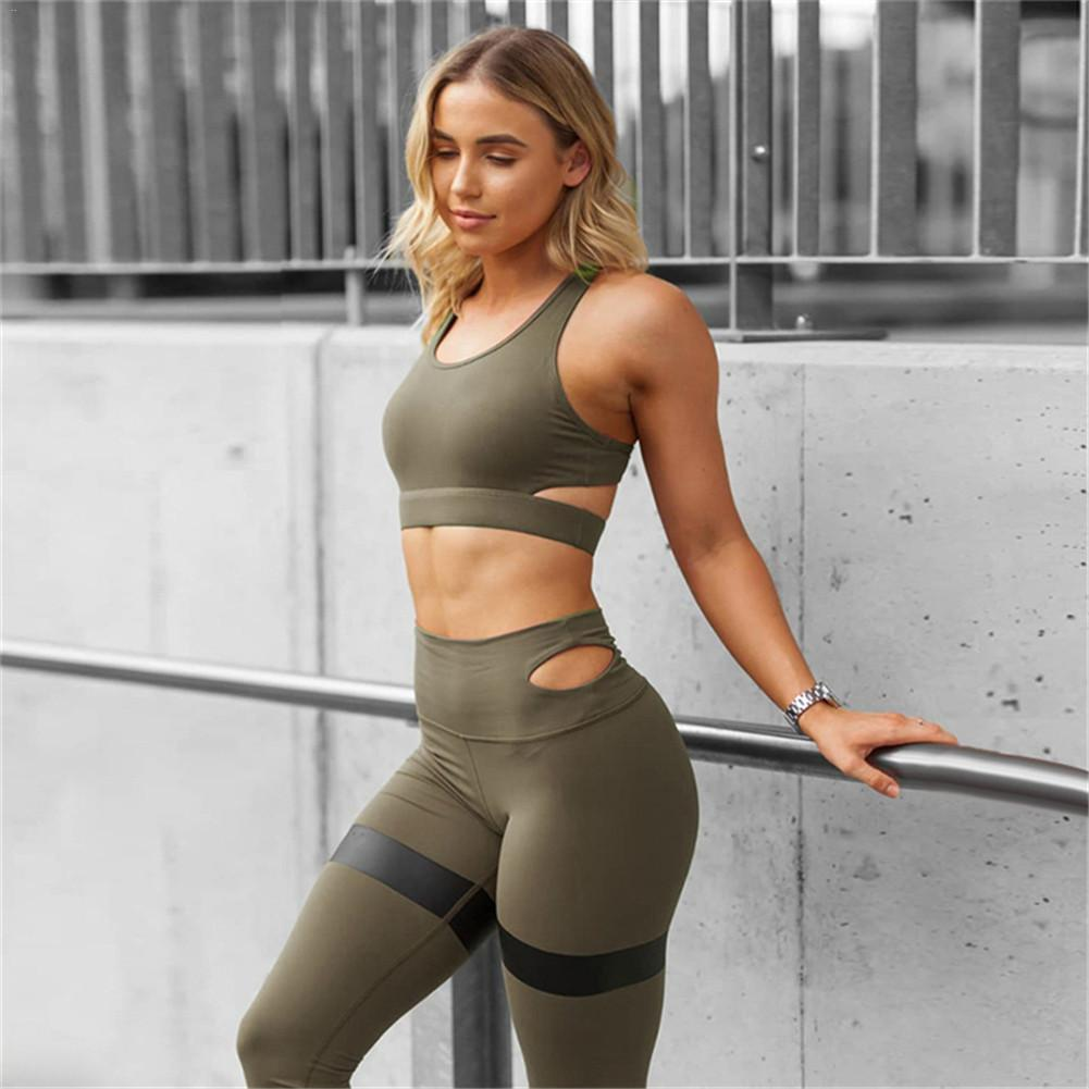 674c69b8587ac Compre Sexy Yoga Set Mujeres Fitness Running Bra + Polainas Gimnasio  Transpirable Ropa De Entrenamiento Traje Deportivo Ropa Deportiva Chándales  De Cintura ...