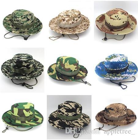 d37e2804eee17 Camouflage Boonie Hat Jungle Military Cap Designer Foldable Cowboy Hats Men  Women Army Bucket Caps Adults Sport Fishing Hat Straw Hats Wedding Hats  From ...