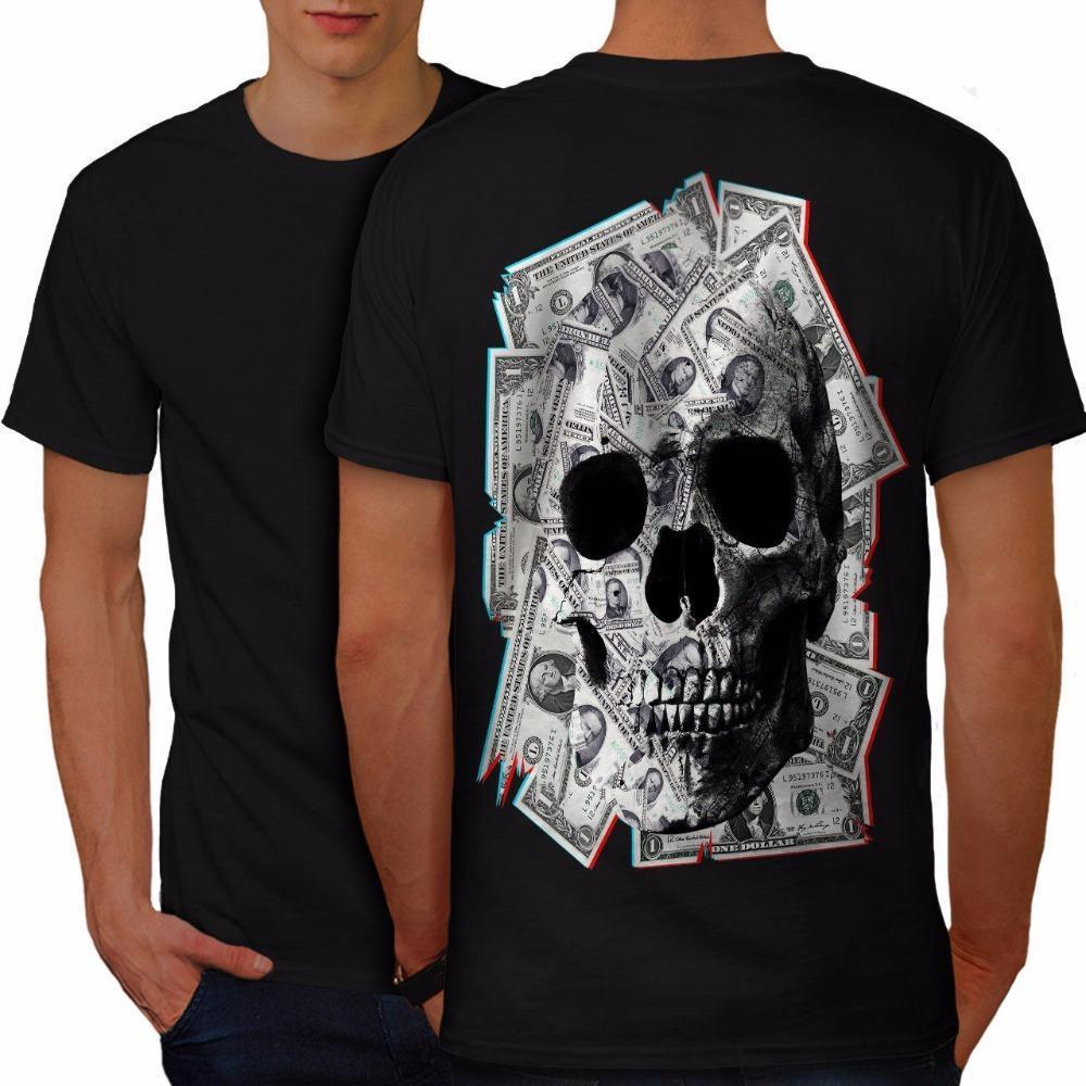 Custom Design Tee Shirts Mens Money Skeleton Rock Skull Men T Shirt