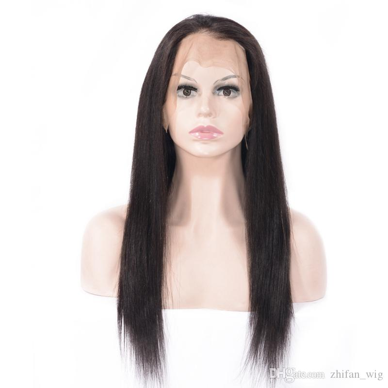 Zhifan Human Hair Black Long Straight 360 Full Lace Wigs For Black Women 130% Natural Looking Wig