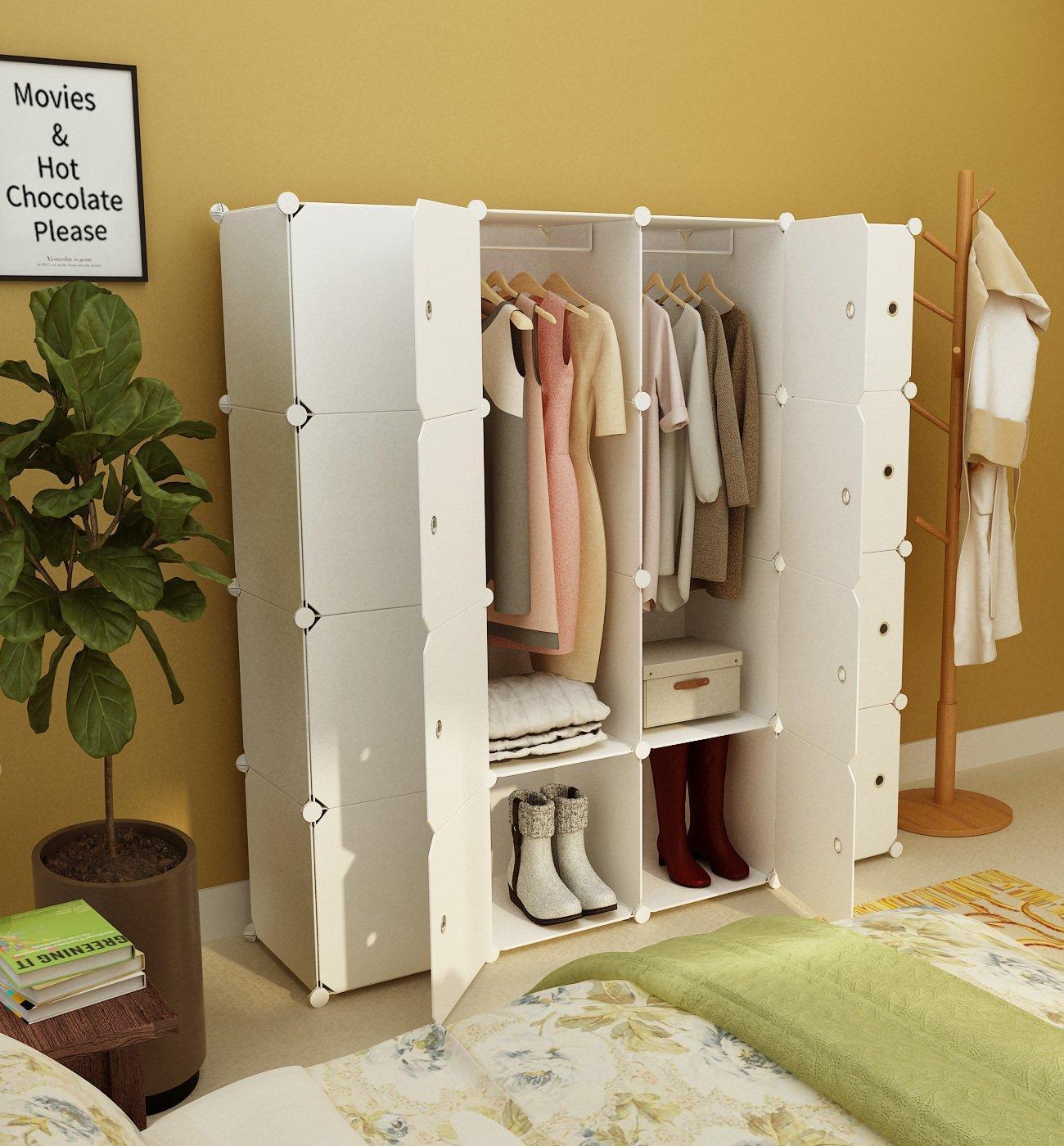 Tragbaren Kleiderschrank Kleiderschrank Schlafzimmer Schrank Kommode Würfel  Speicherorganisator, kapazitiv anpassbar, weiß, 10 Würfel 2 hängende ...