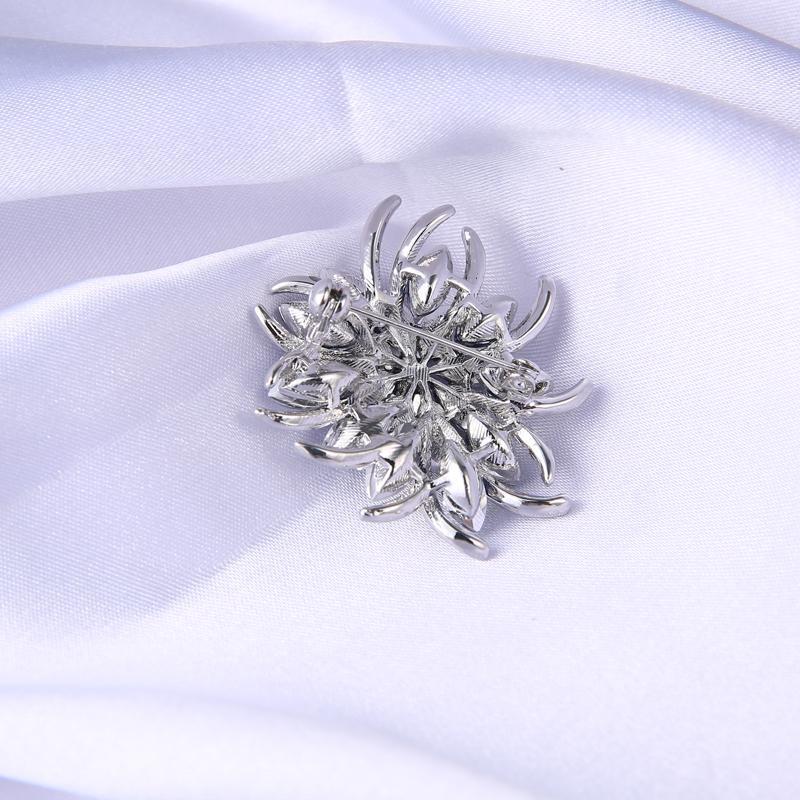 Dark Blue Glass Crystal Flower Brooch Elegant Silver Brooches Pins New Fashion Rhinestone Brooches For Wedding Jewelry