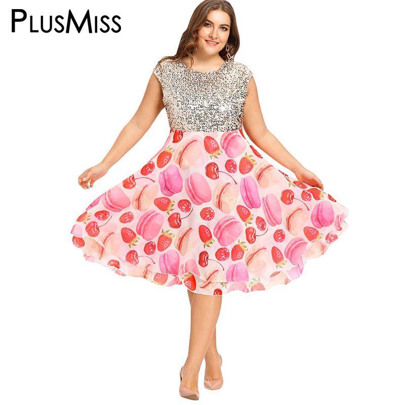 PlusMiss Plus Size 5XL Fit and Flare Sequin Dress Women Oversized Print  Night Party Club Chiffon Dress 2017 Big Size Vestidos