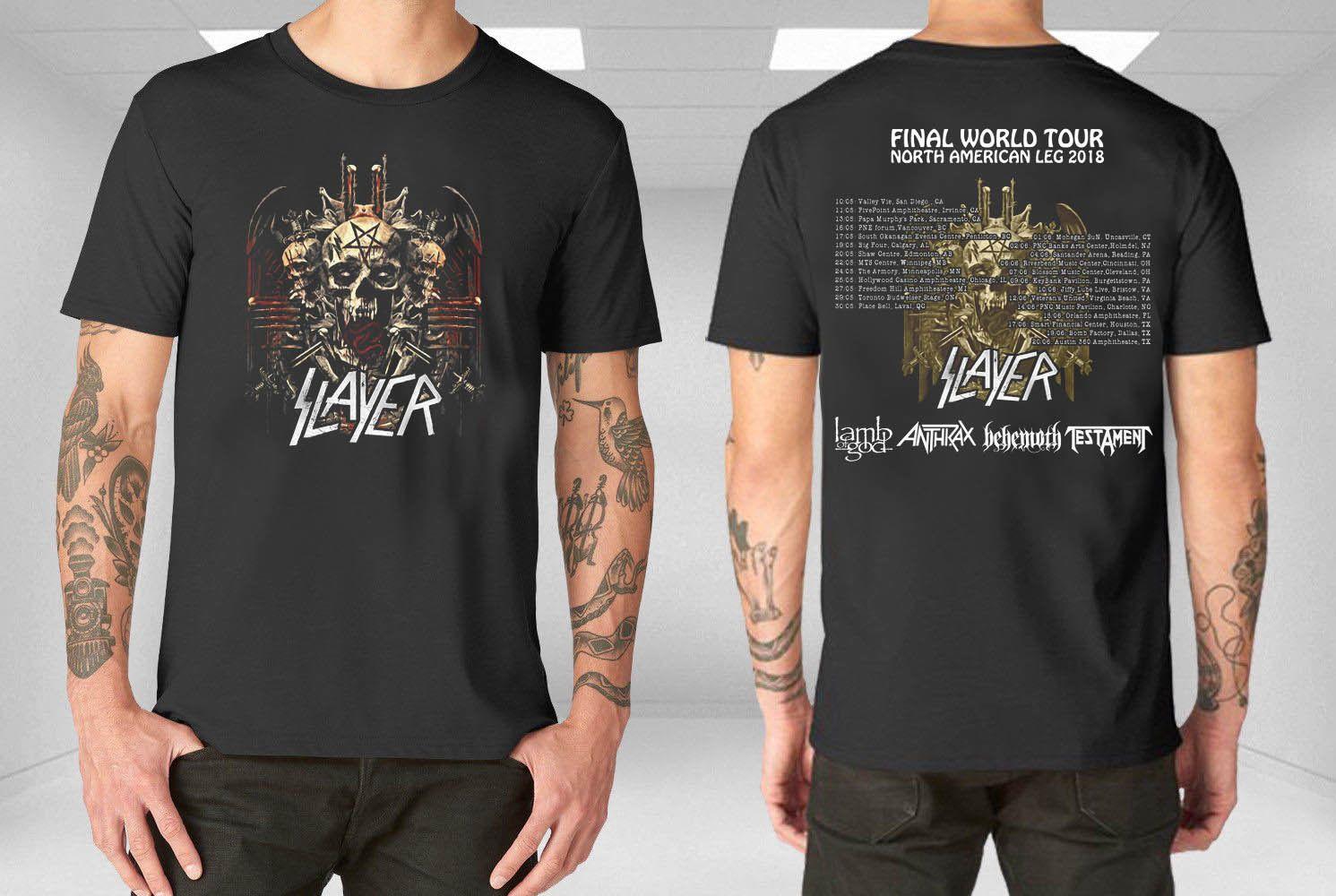 2ccf3c3b126 Slayer T Shirt Final World Tour 2018 North America Leg Lamb Of God Anthrax  HOT SELL 2018 New Fashion Brand Men Tees Solid Color Short T Shirts  Shopping ...