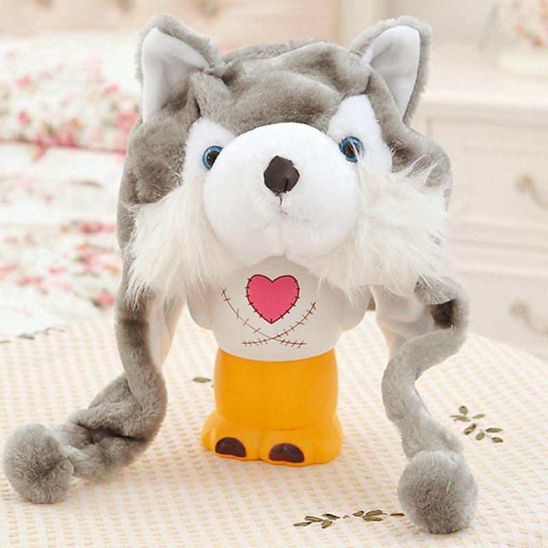 4733d6e659b Cartoon Animal Grey Husky Hood Wolf Hat Hoods Beanies Cute Fluffy Caps Soft  Warm Scarf Earmuff Thick Plush Women Children Hat Skullies   Beanies Cheap  ...
