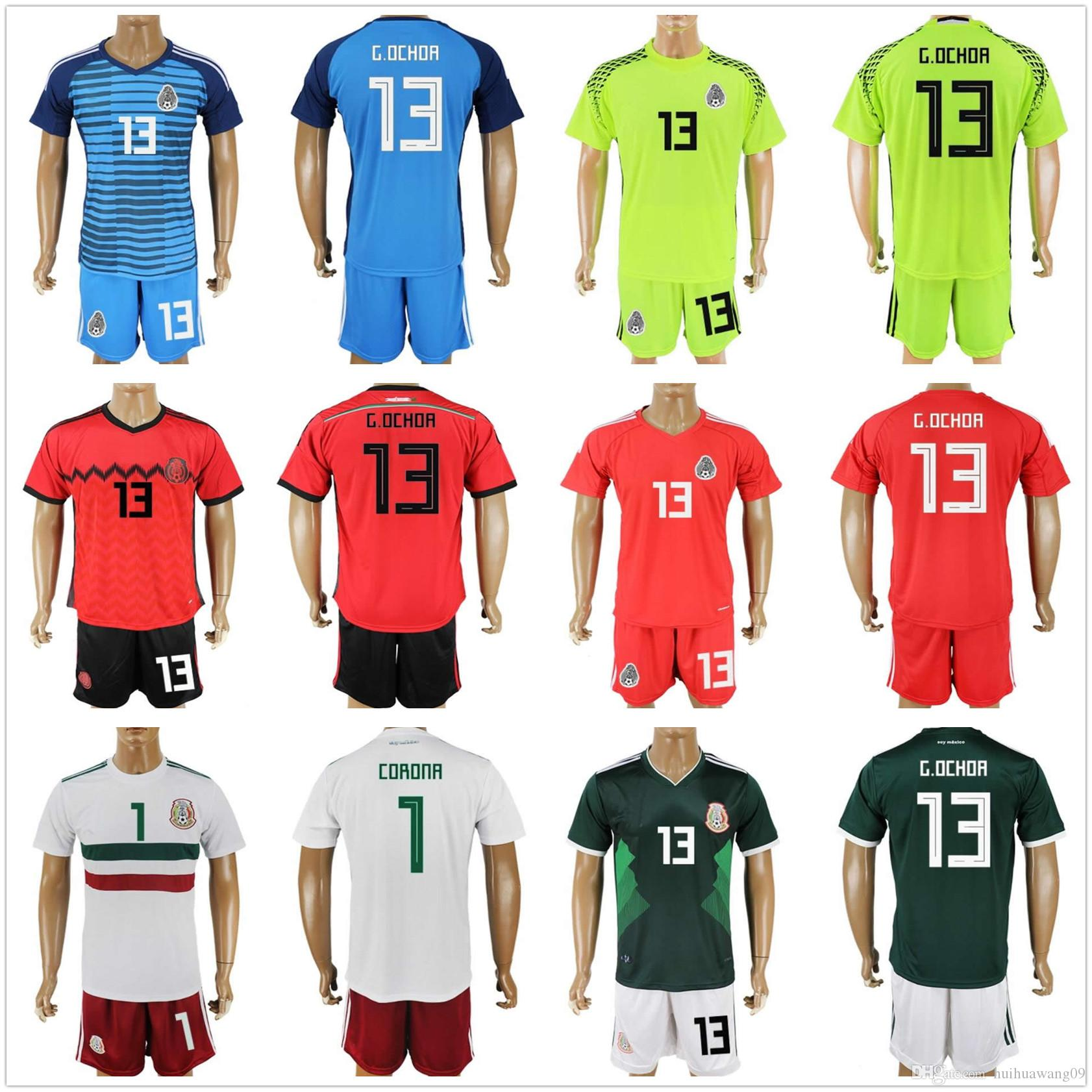 42f23a9ee mexico 1 corona long sleeves goalkeeper country jersey green soccer  2018  world cup red green mexico goalkeeper jerseys mexico soccer sets chicharito  g dos ...