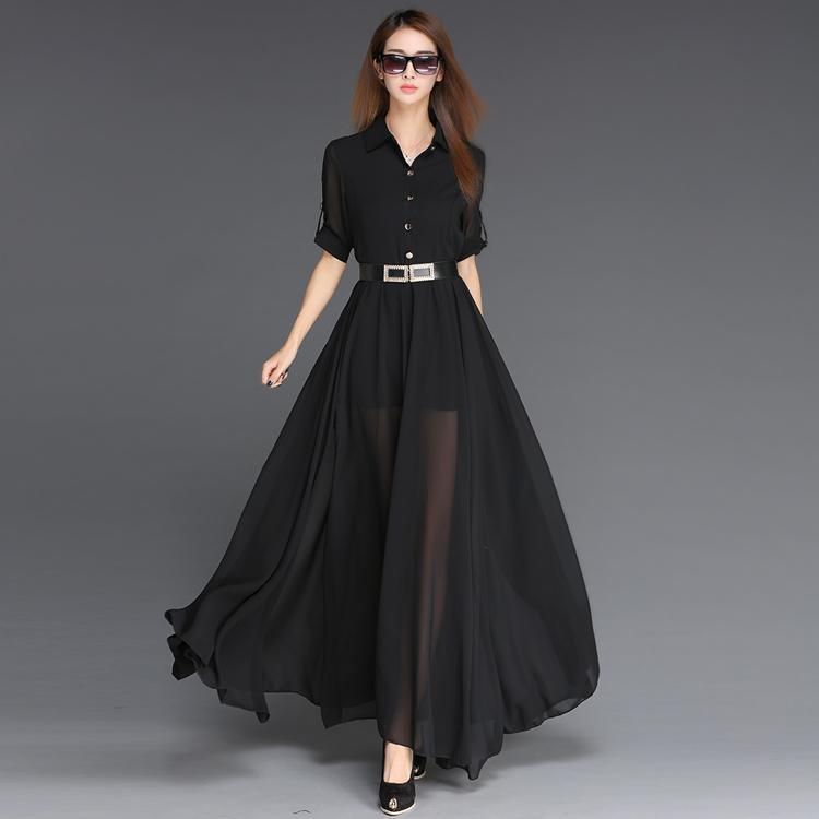 a012ebad95c7 Frauen Elegant Big Swing Tunika Gürtel Schwarz Langes Kleid Durchsichtig  Damen Herbst Sommer Casual Kleider Vestidos