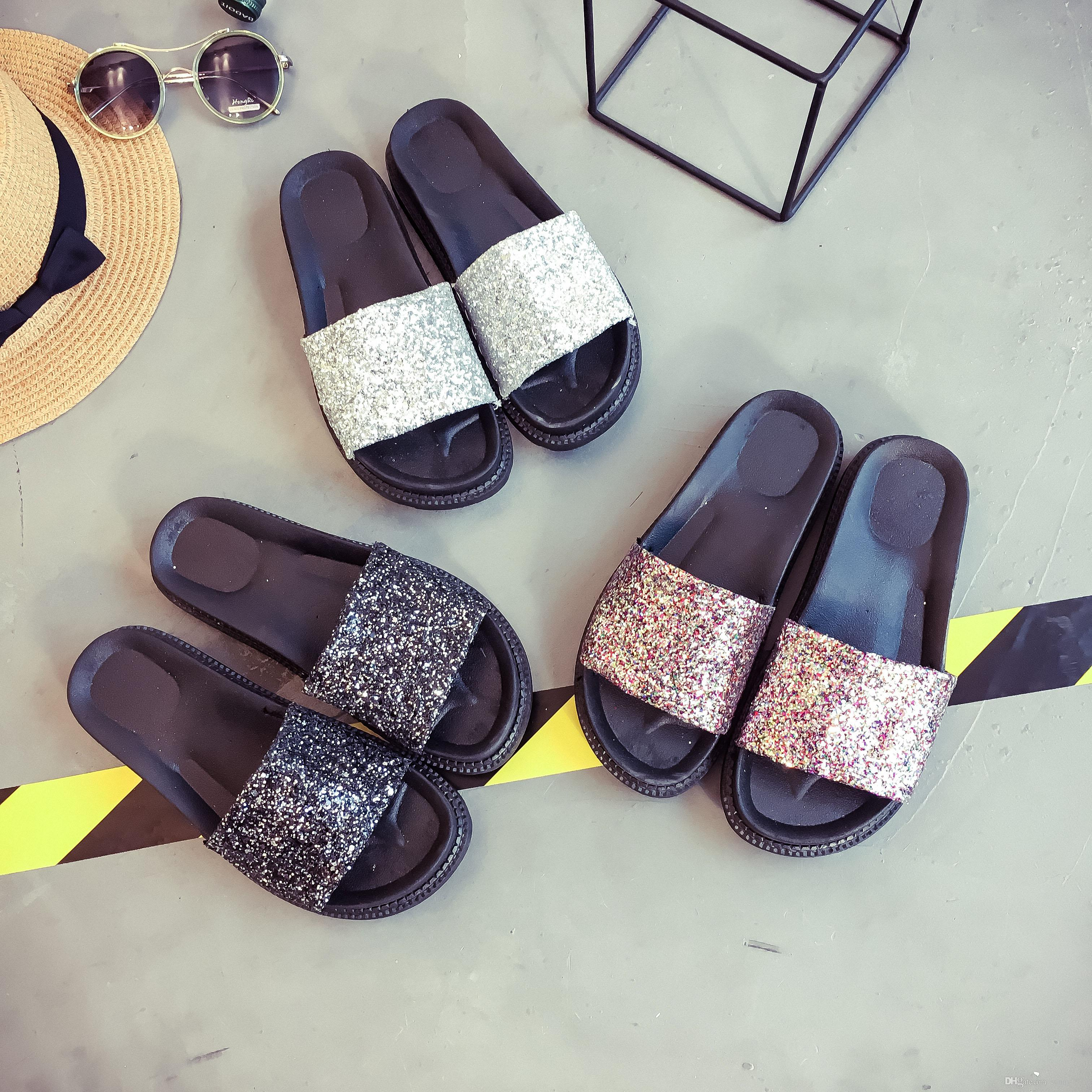 2018 Glitter Slippers Summer Beach Flats Casual Platform Shoes Woman Bling  Slides Slip On Women Shoes Winter Boots For Women Boots Online From  Sunny7979 c645ddf01f70