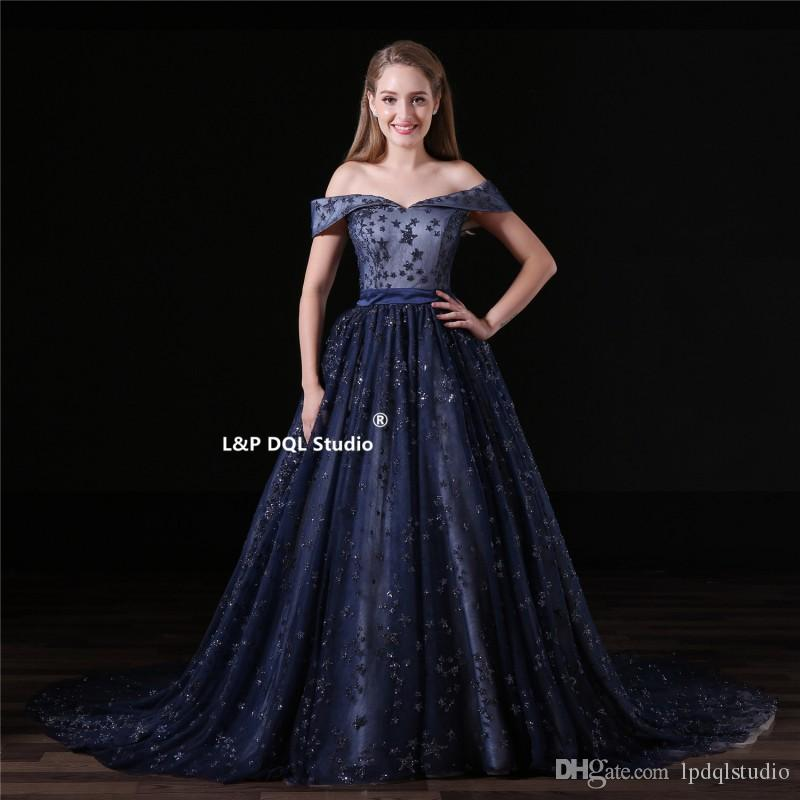 Off the Shoulder Dark Navy Prom Dresses Sweep Train Pleats Tulle ...