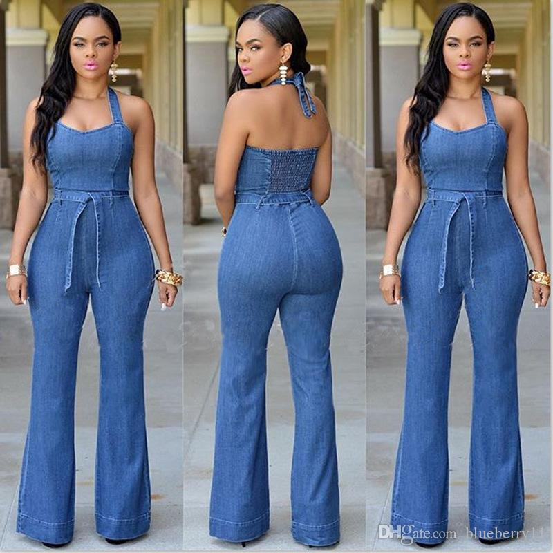 188a66c05571 2019 New Women Sexy Denim Blue Backless Jumpsuits Casual Loose Jumpsuit  Party Overalls Women Sleeveless Night Club Rompers S XL From Blueberry11
