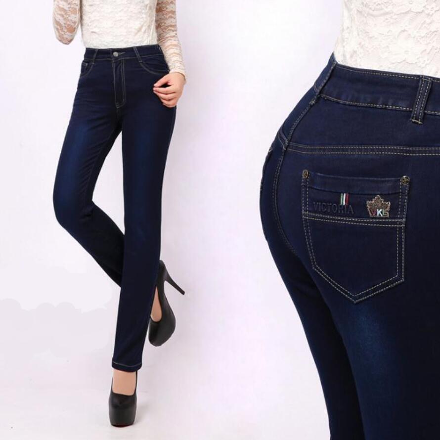 Femme Jeans 27 La Pant Taille Plus Denim 38 Femmes Élastique Pantalon Skinny Jean Épais Haute Crayon Coton Les Pour Yvfb76yg