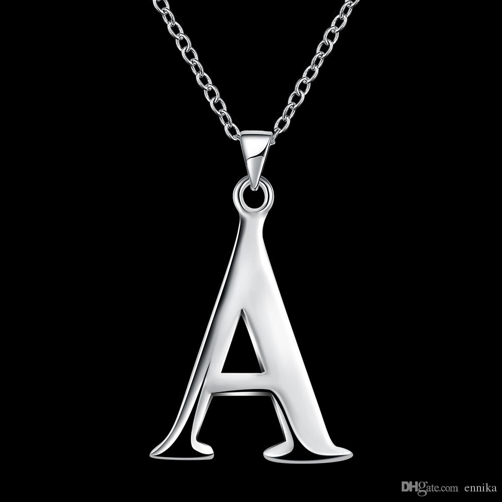 Letters A-Z Charms Pendants Silver 45cm Necklace , Good Quality Fashion 925 Silver Chains Necklaces Jewelry New Brand n975