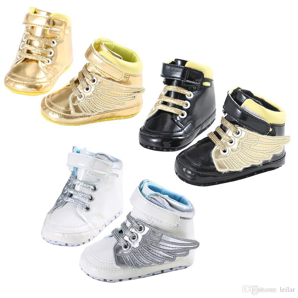Artificial PU Baby Boys Girls Shoes Newborn Wings Design Soft Sole ... 985156437