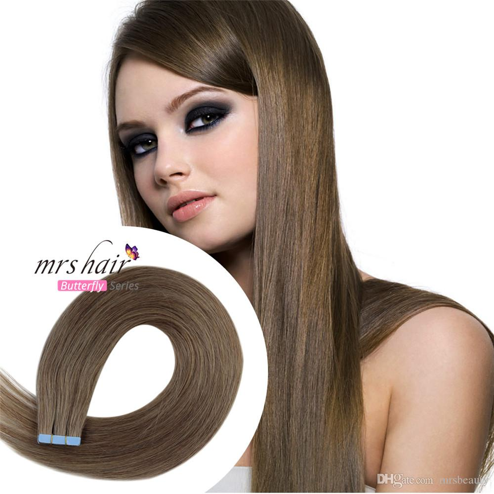 8 Chestnut Brown Tape In Human Hair Extensions Skin Weft Tape Hair