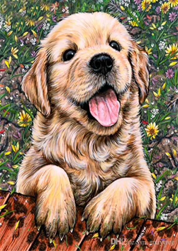 Full Drill 5d Diamond Painting - Cute Puppy - Arts Craft for Home Wall Decor Festival Gift DIY Diamond Painting Kits