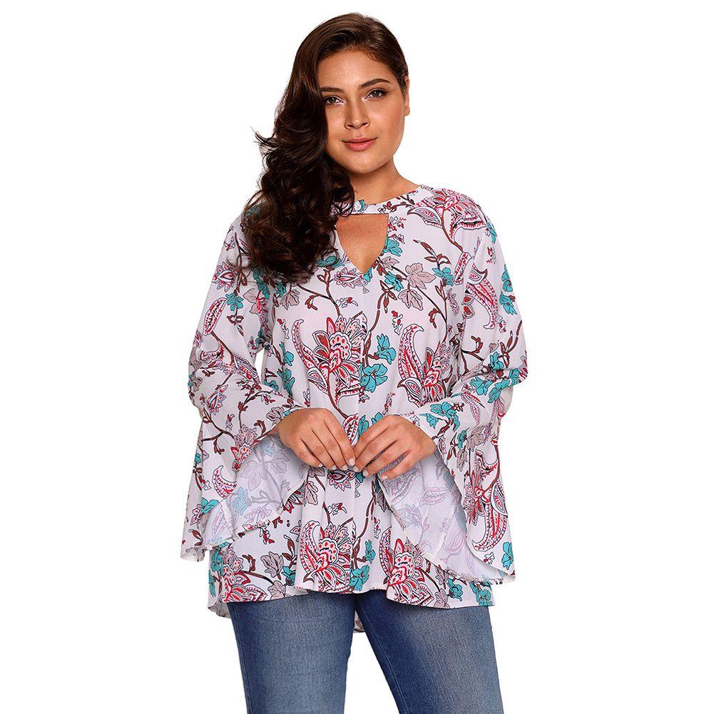 bd16b01bacb 2018 Autumn New Fashion Chiffon Tops For Women Basecolor Floral Paisley  Plus Size Blouse Lc250354 Camisa De Las Mujeres Xl 3xl Urban T Shirts Irish  T Shirts ...