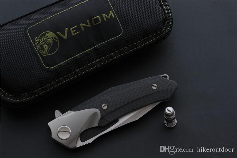 السم مهاجم سكين كيفن جون الطي سكين كروي زعنفة M390 التيتانيوم ألياف الكربون التخييم بقاء سكاكين أدوات edc