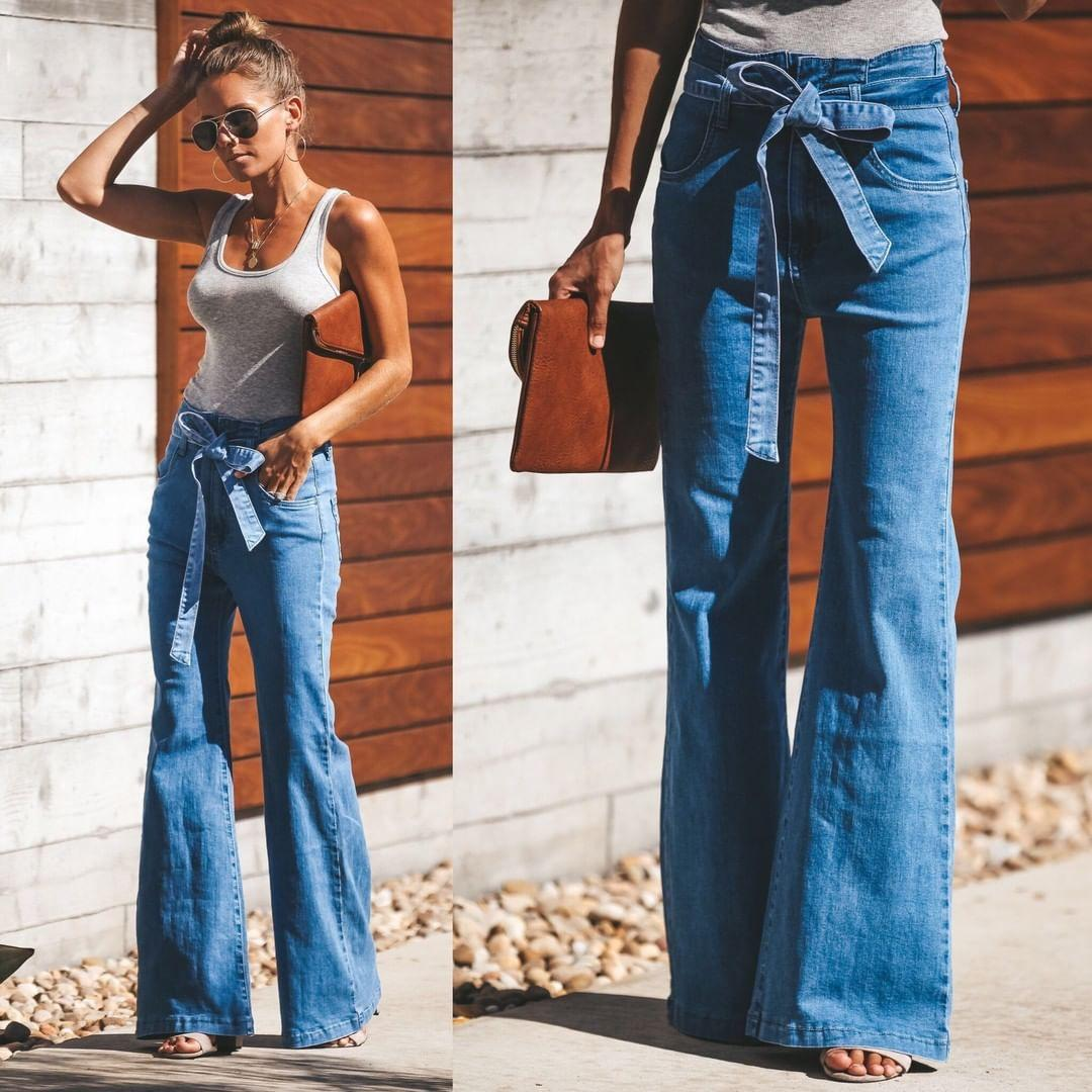 27d13fb7c41 2019 Autumn Tie Waist Flare Jeans Woman Denim Trousers Vintage Women  Clothes 2018 Fall High Waist Pants Belted Elegant Stretchy Jeans From  Yujian18