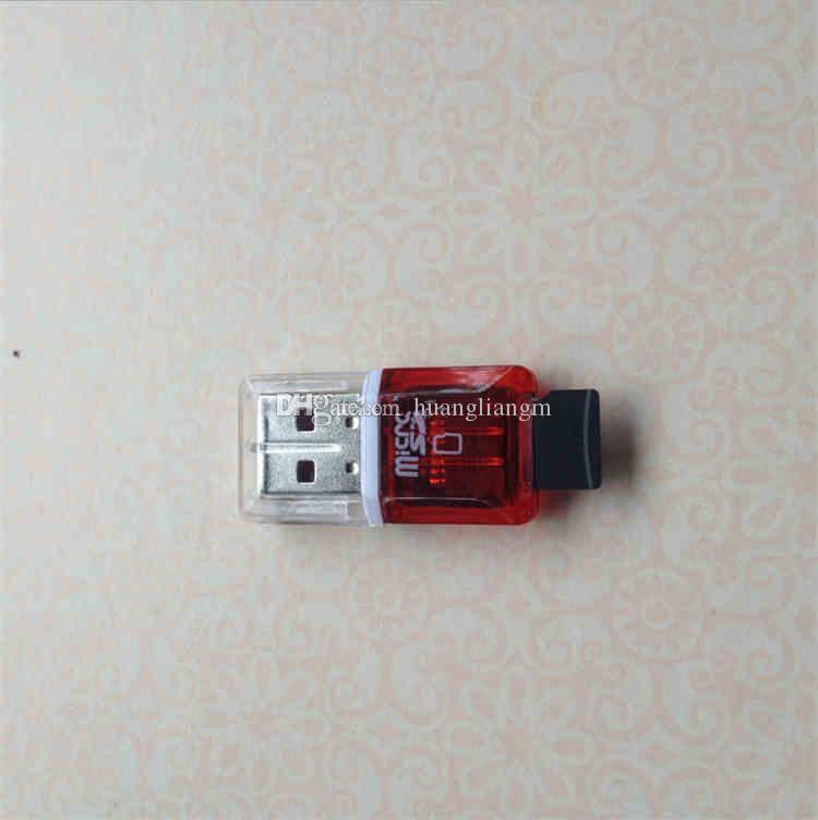 Высокая скорость Кристалл прозрачный USB 2.0 TF Flash T-флэш-памяти micro SD Card reader адаптер для 2 ГБ 4 ГБ 8 ГБ 16 ГБ 32 ГБ 64 ГБ TF карта