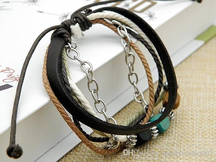 e6e8d659a 2019 New Stylish Women'S Handmade Leather Charm Bracelets Beaded Learther Wrap  Bracelet Colourfull Xmas Gifts Mix Styles Stock Wholesale From ...