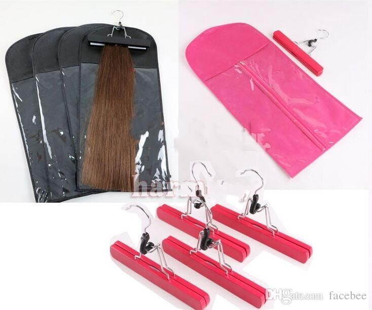 Hair extensions Packing bag Dustproof with hanger for clip hair human weft Professinal hair tools