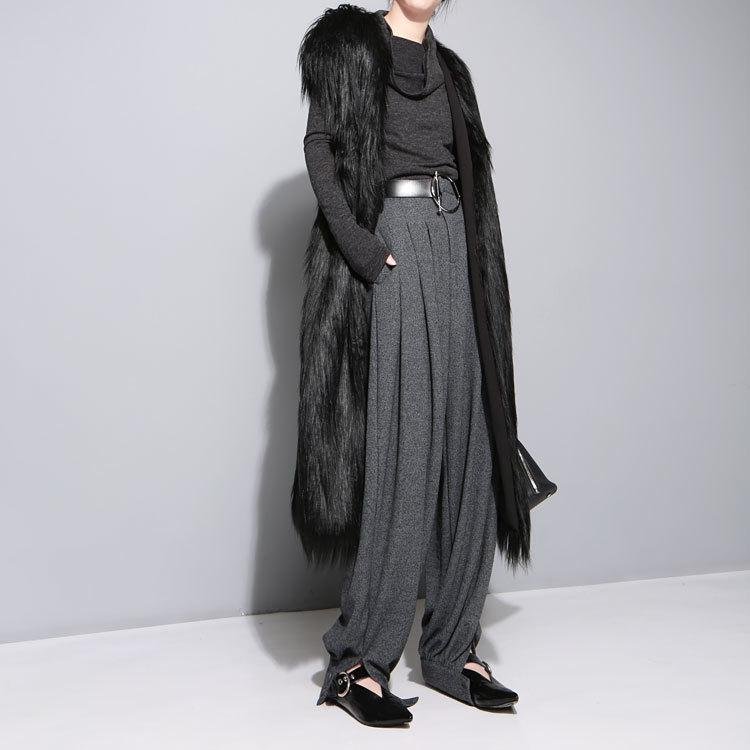Sonbahar Siyah Faux Kürk Uzun Yelek Ince Uzun Faux Kürk Ceket Kadınlar Kürk Femmel Yelek Uzun Ceket
