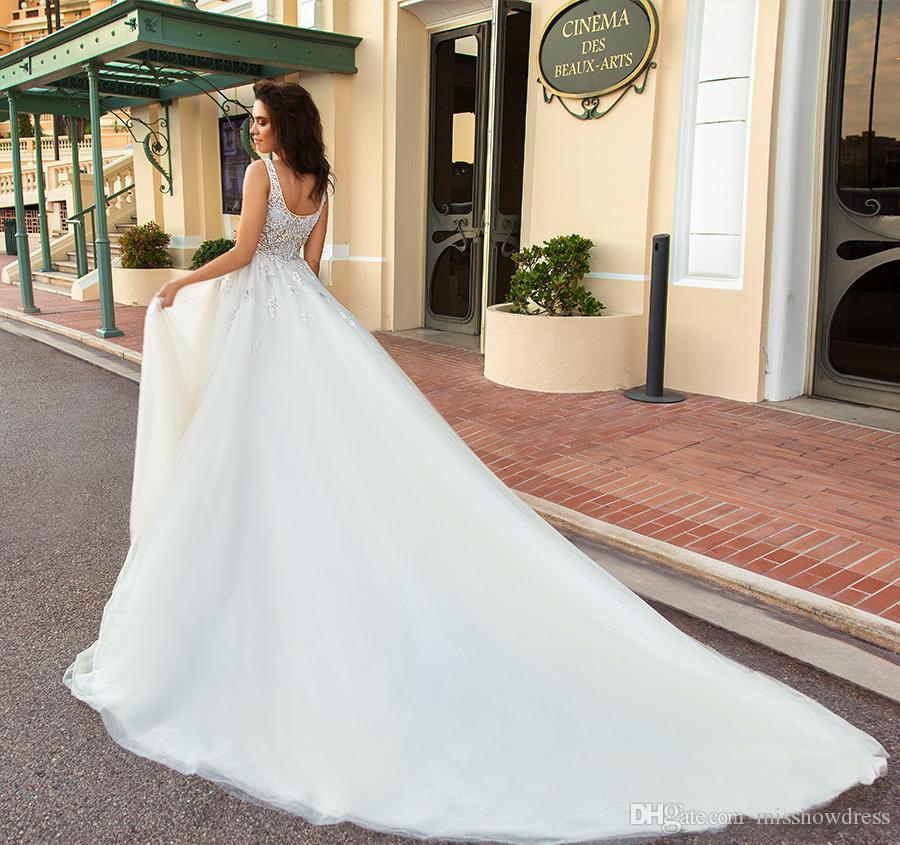 Elegante lusso Piazza A-Line Abiti da sposa araba cristallo maniche Garden Backless Abiti da sposa taglie forti su ordine Vestiti De Noiva