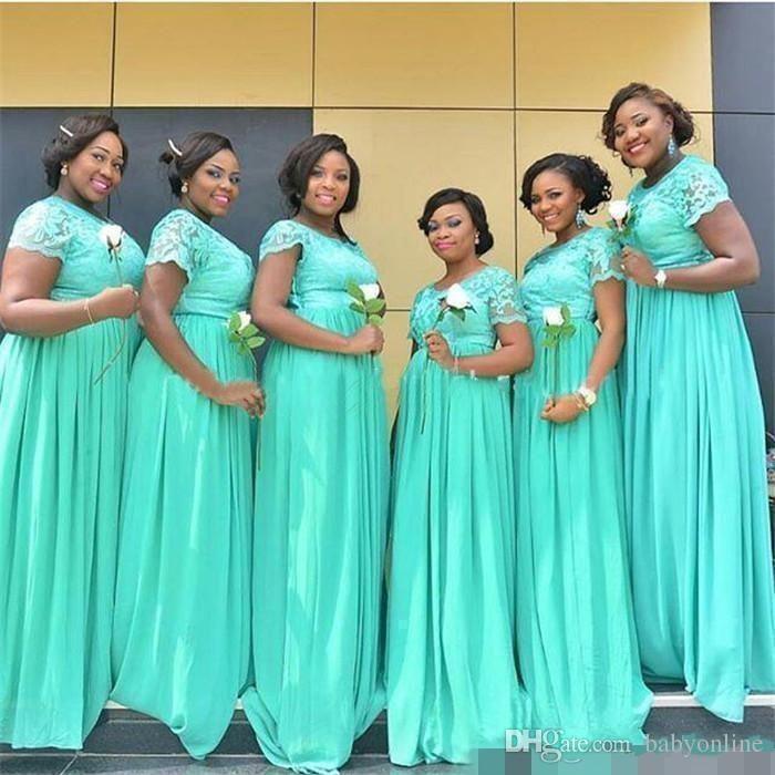 a4d5bbda72 Cheapest Bridesmaids Dresses 2019 Mint Green Chiffon Lace Maid of Honor  Gowns Custom Made Cap Sleeves A Line Long Evening Gowns BM0145