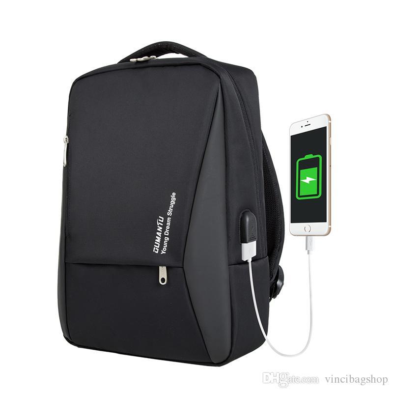 Men Waterproof Nylon Backpack USB Charging 15.6 Inch Laptop Backpacks  Commute Backpack Students School Book Bag Business Travel Bags B119 Pink  Backpacks ... b550df45c19c5