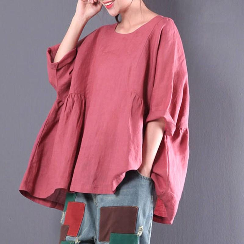 2019 2018 Oversized Blusa Women Round Neck 3 4 Long Sleeve Simple Plain  Casual Blouse Shirt Baggy Cotton Linen Pullover Plus Size 5XL From Dayup c682829642fa
