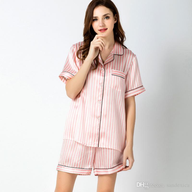 2019 100% Mulberry Silk Sleepwear Womens Silk Satin Pajama Sets Short  Sleeve Sleepwear Homewear Night Wear From Sandexica 43a8166d7