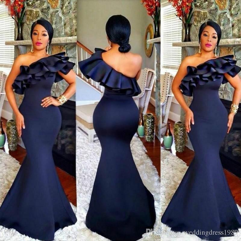 Elegant Satin Mermaid Navy Blue Evening Dresses Plus Size Ruffle Arabic African Long Prom Party Gown Muslim Women Gowns Formal Wear