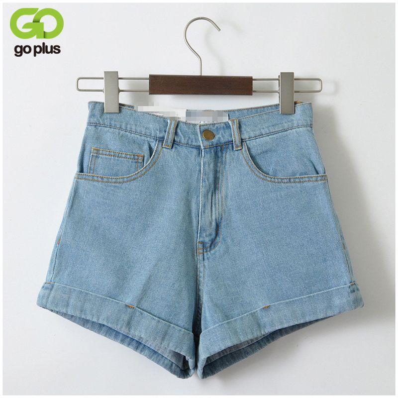 882a5b85c2 Vintage Denim Shorts Women High-Waist Rolled Hem Denim Shorts Girls Sexy  Cuff Jeans Plus Size Girls' Street Wear C3627