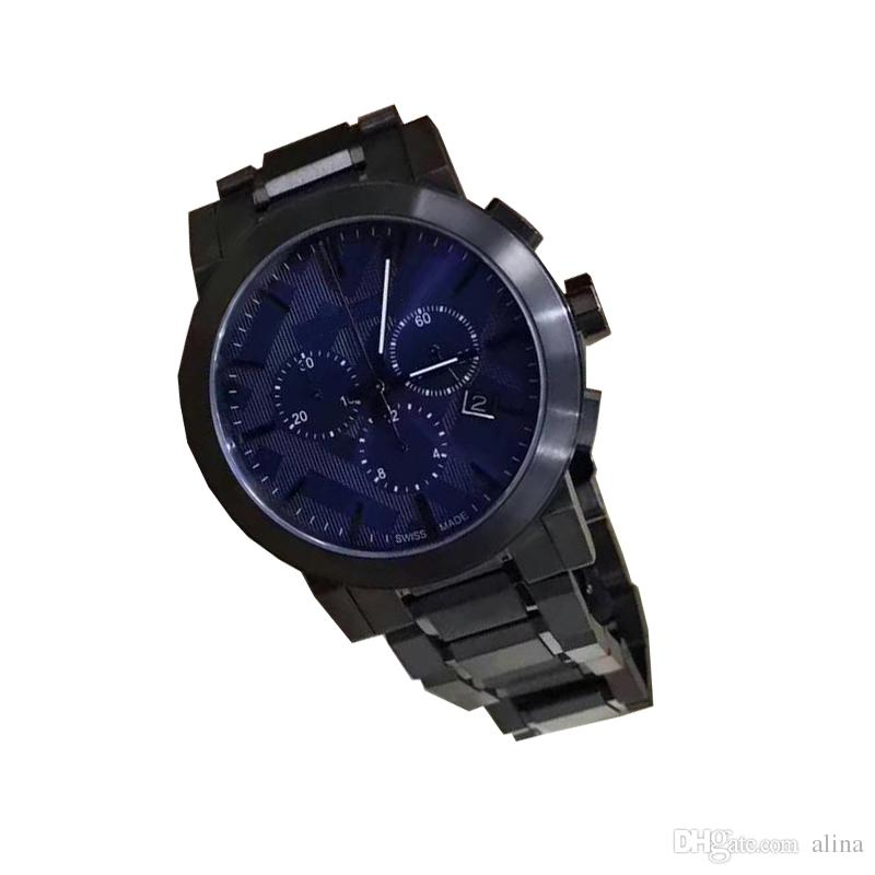 Hot sale Men's Swiss Chronograph Gray Ion-Plated Stainless Steel Bracelet Watch 9365 With box from alina