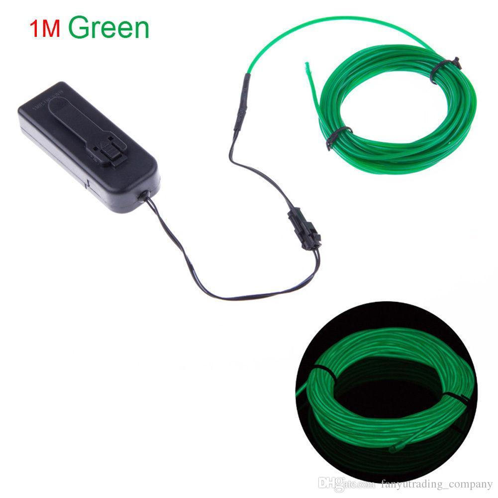 2018 Neon LED Licht Glow EL 1m Draht Schnur Streifen Seil Schlauch Dekor Auto Party + Controller Freies Verschiffen