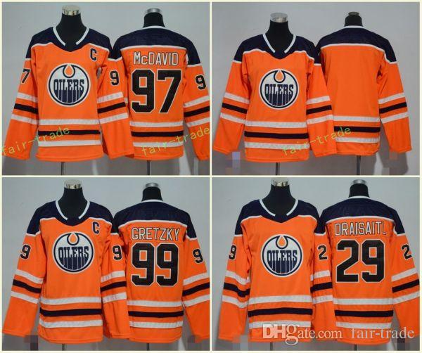 8b86aee13 Edmonton Oilers 99 Wayne Gretzky Jerseys 29 Leon Draisaitl 97 Connor ...
