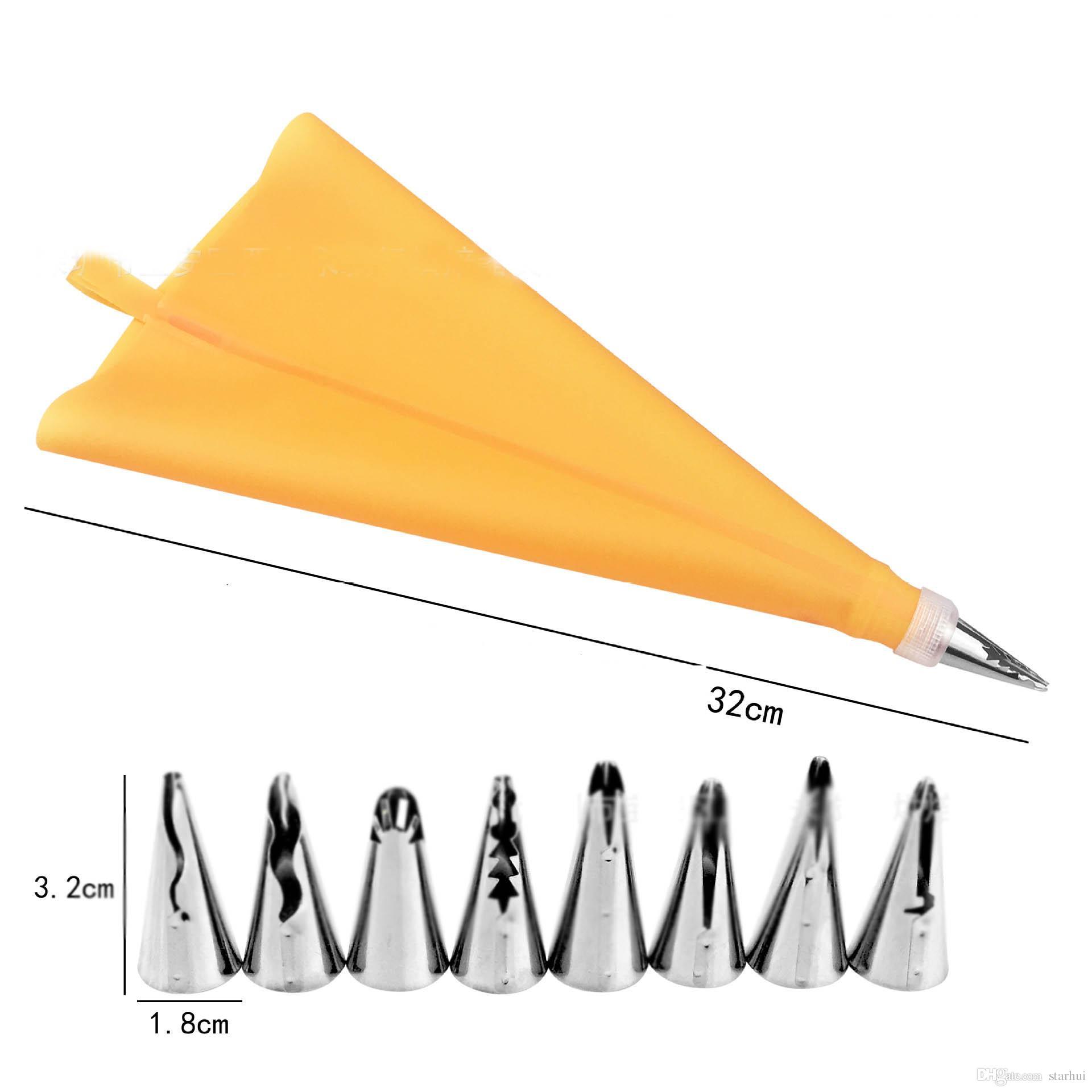 10 pezzi / Set Punte di cottura della torta della pasticceria di DIY Set Tool 8 punte dell'ugello + 1 sacchetto della pasticceria + 1 convertitore che decora il corredo dei rifornimenti WX9-300