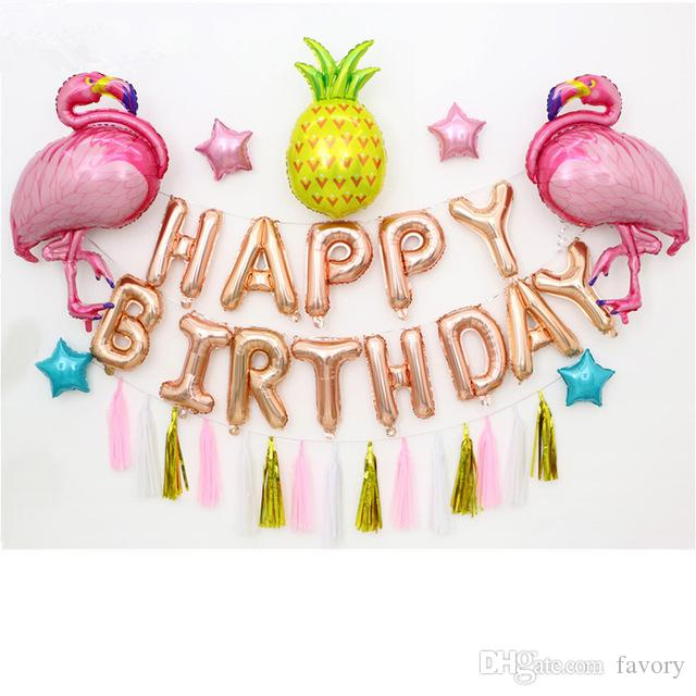 Large Pink Flamingo Balloons Happy Birthday Party Decorations Photo Props Rose Gold Letter Pineapple Globos For Child Gifts Oversized Helium