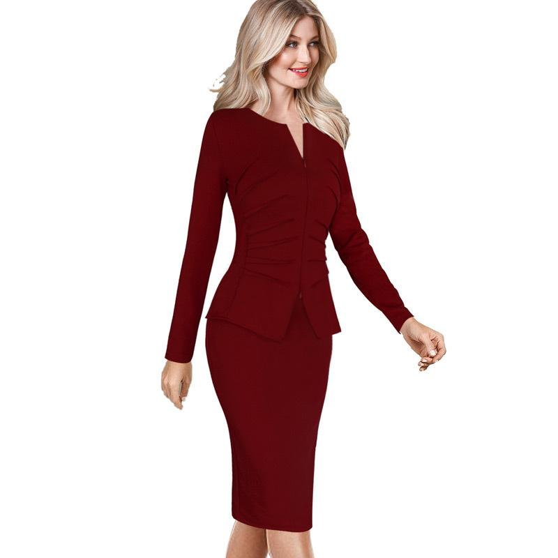 a5d080cbb048 2019 Vfemage Women Winter Elegant Front Zip Up Pleated Ruched Peplum Long  Sleeve Wear To Work Office Business Party Sheath Dress 8348 D18110906 From  ...