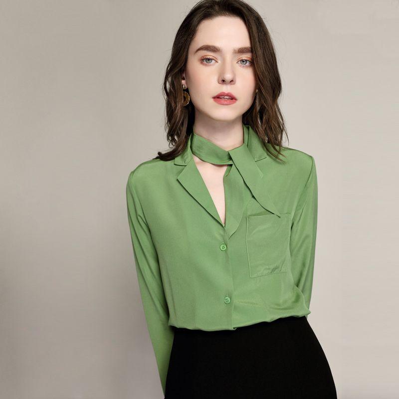 789aee59 100% Blusa de Seda Camisa de Las Mujeres Elegante Diseño Simple de Manga  Larga Bolsillo 2 Colores de Trabajo de Oficina Top Estilo Elegante Nueva ...