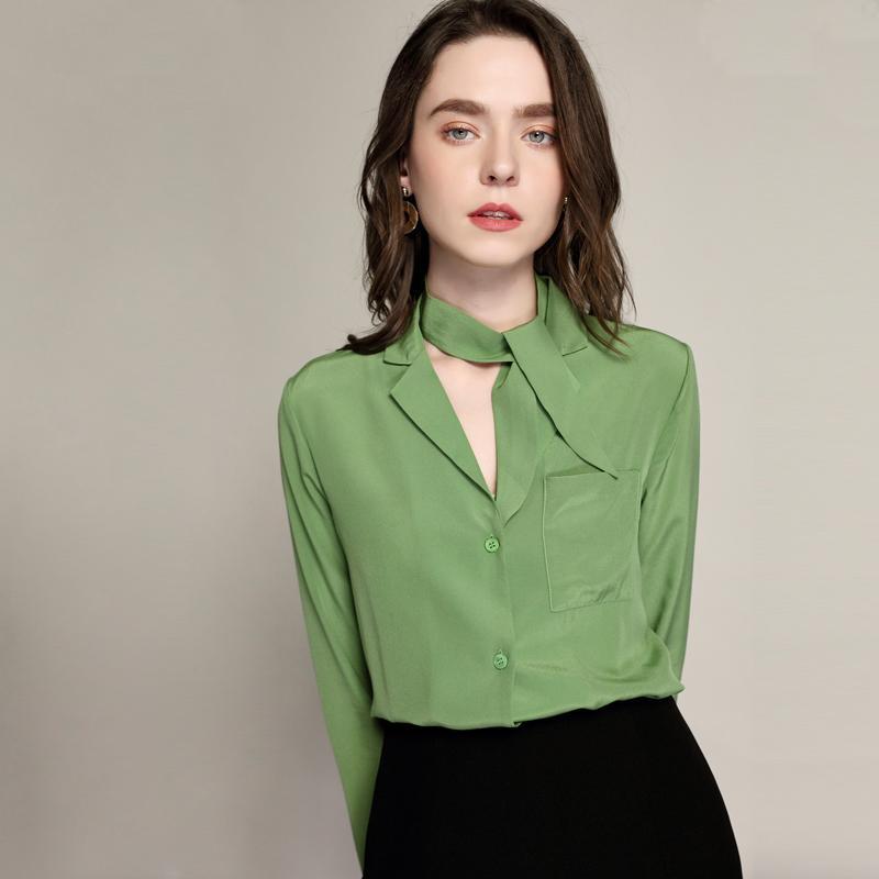 cdc017eb35 Compre 100% De Seda Blusa Mulheres Camisa Elegante Design Simples Mangas  Compridas Bolso 2 Cores De Trabalho De Escritório Top Estilo Gracioso Nova  Moda ...